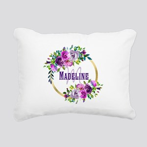 Purple and Gold Monogram Rectangular Canvas Pillow